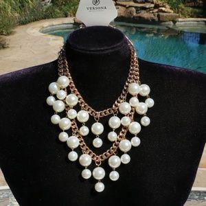 New! Boho Pearl Statement Necklace Multi Strand
